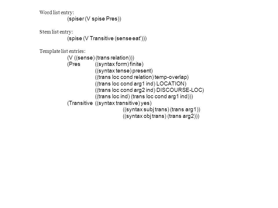 Word list entry: (spiser (V spise Pres)) Stem list entry: (spise (V Transitive (sense eat'))) Template list entries: (V ((sense) (trans relation))) (P