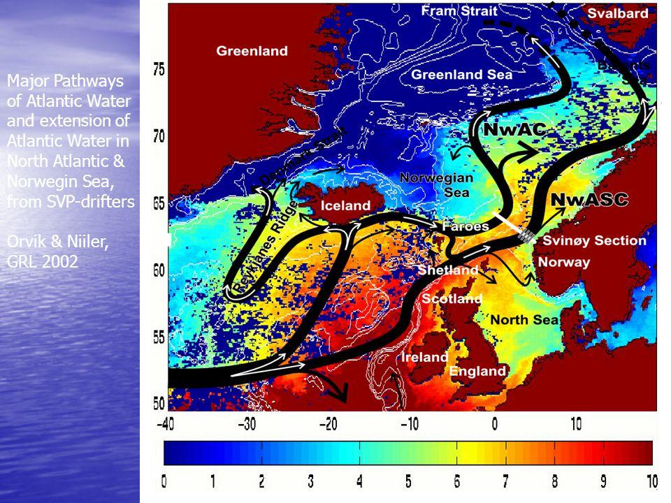 Major Pathways of Atlantic Water and extension of Atlantic Water in North Atlantic & Norwegin Sea, from SVP-drifters Orvik & Niiler, GRL 2002
