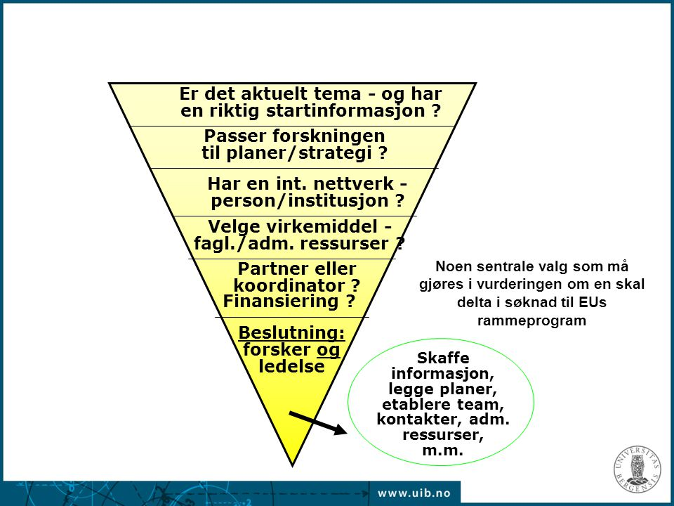 Partner eller koordinator ? Skaffe informasjon, legge planer, etablere team, kontakter, adm. ressurser, m.m. Velge virkemiddel - fagl./adm. ressurser
