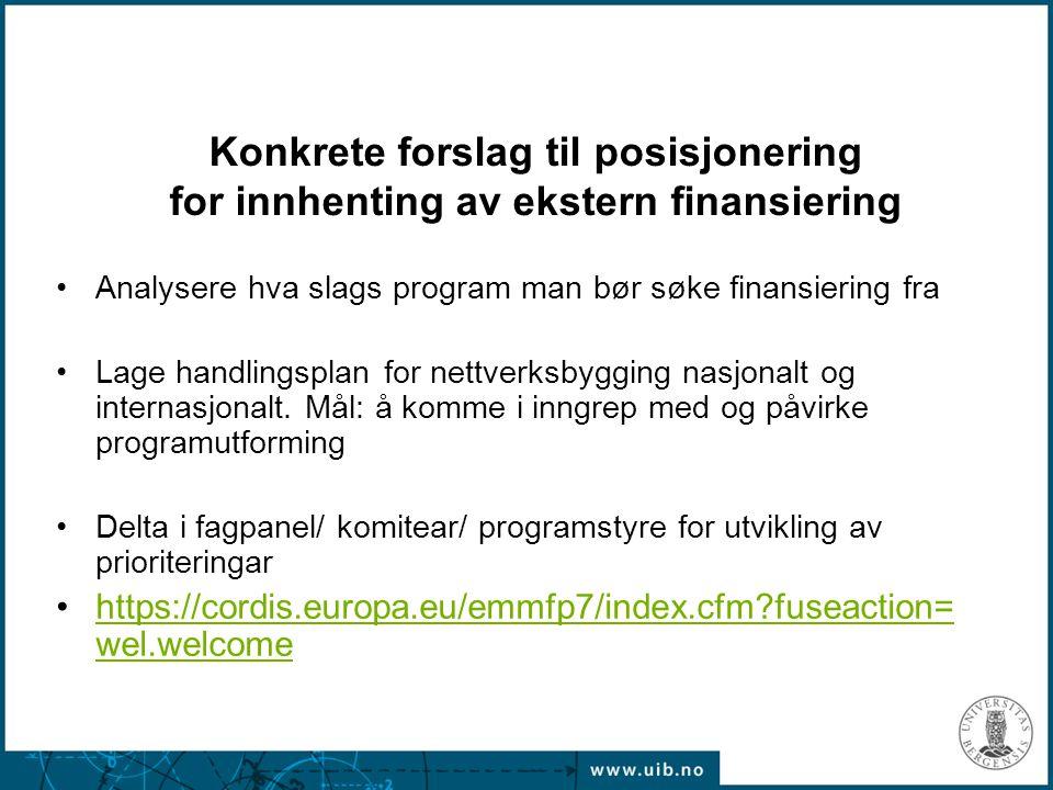 Konkrete forslag til posisjonering for innhenting av ekstern finansiering Analysere hva slags program man bør søke finansiering fra Lage handlingsplan