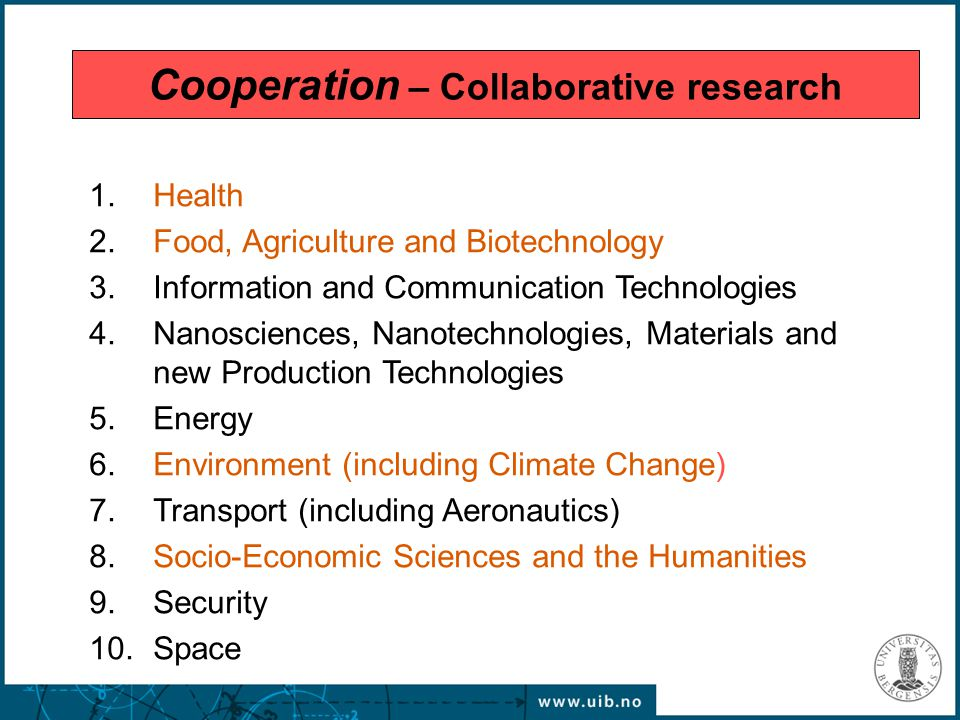 1.Health 2.Food, Agriculture and Biotechnology 3.Information and Communication Technologies 4.Nanosciences, Nanotechnologies, Materials and new Produc