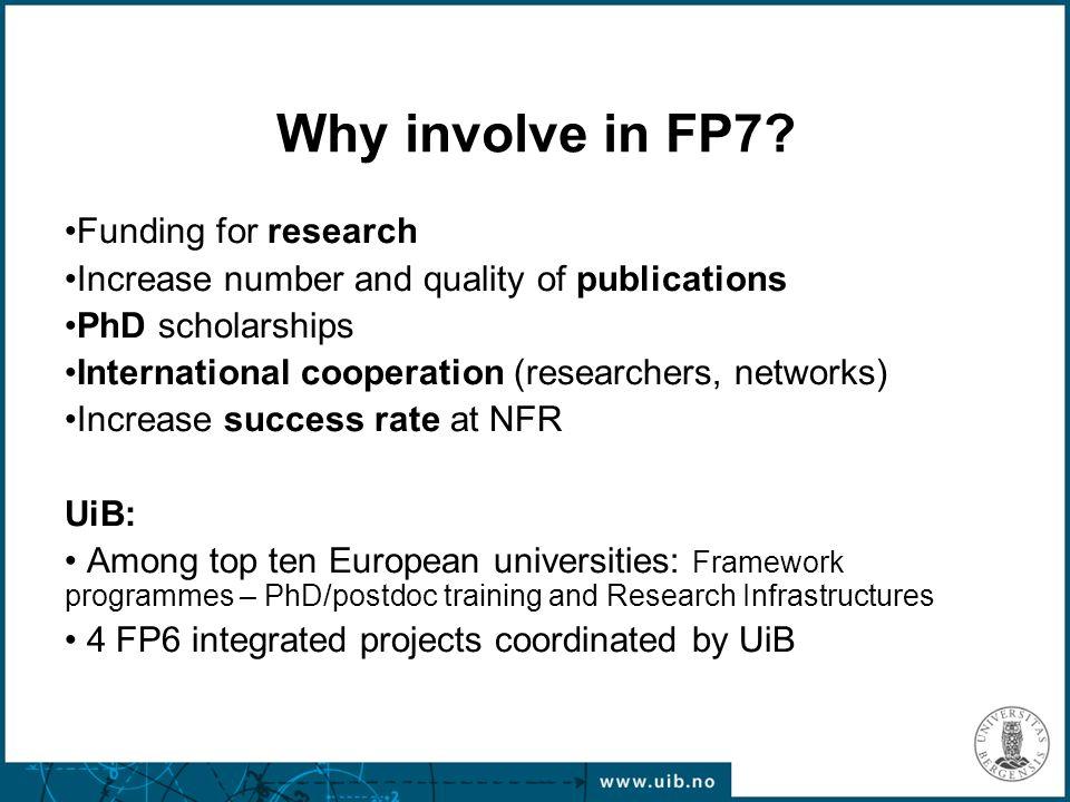 7th Framework Programme 7 years (2007-2013) Budget 50.5 billion Euro.