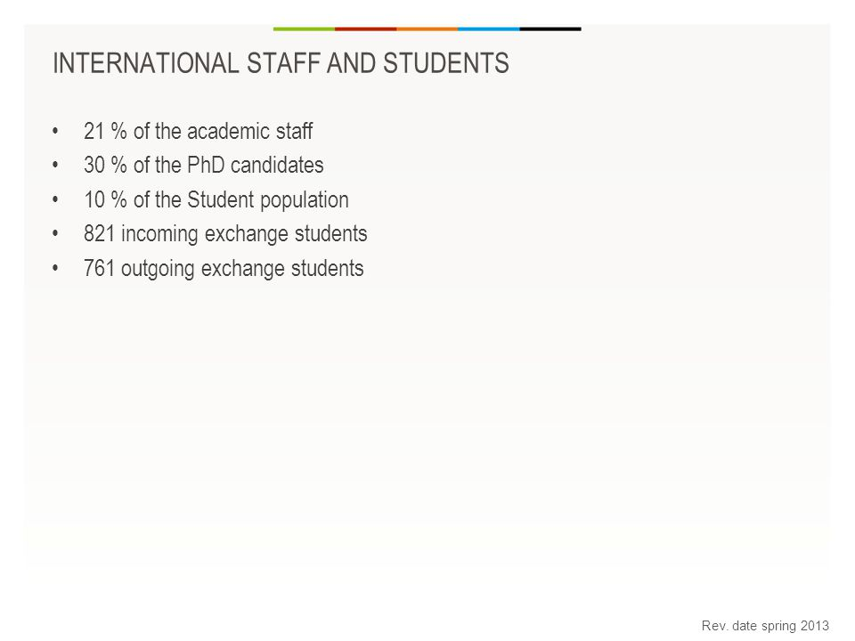 INTERNATIONAL STAFF AND STUDENTS 21 % of the academic staff 30 % of the PhD candidates 10 % of the Student population 821 incoming exchange students 761 outgoing exchange students Rev.