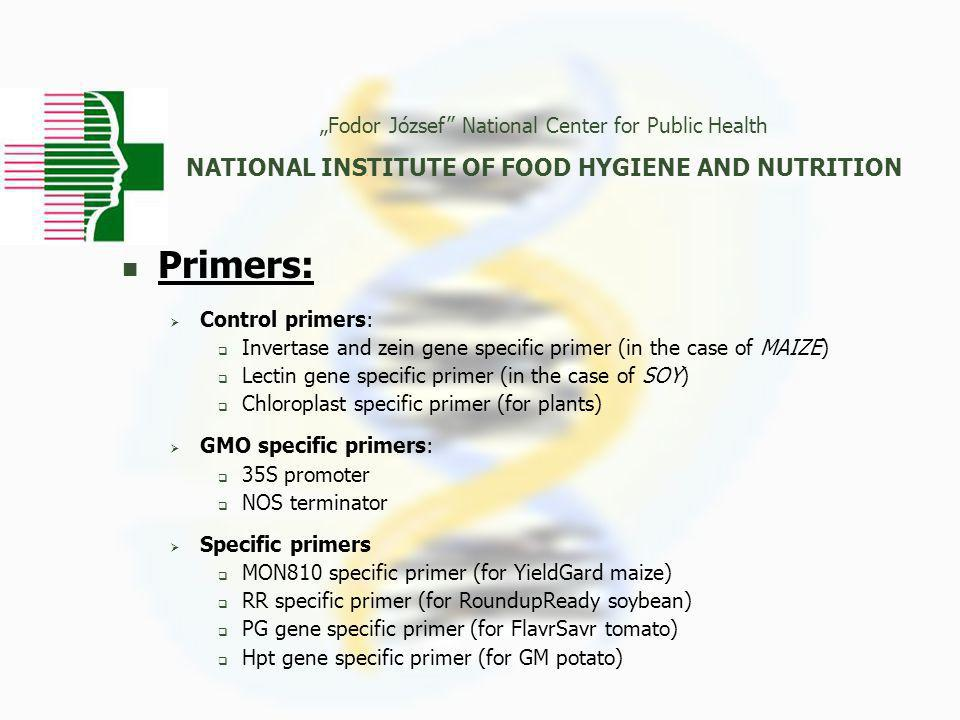 """Fodor József National Center for Public Health NATIONAL INSTITUTE OF FOOD HYGIENE AND NUTRITION Primers:  Control primers:  Invertase and zein gene specific primer (in the case of MAIZE)  Lectin gene specific primer (in the case of SOY)  Chloroplast specific primer (for plants)  GMO specific primers:  35S promoter  NOS terminator  Specific primers  MON810 specific primer (for YieldGard maize)  RR specific primer (for RoundupReady soybean)  PG gene specific primer (for FlavrSavr tomato)  Hpt gene specific primer (for GM potato)"