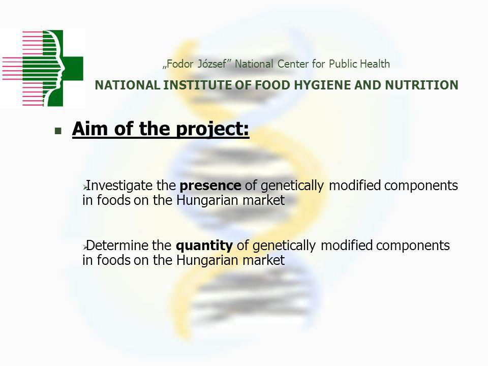 """Aim of the project: """"Fodor József National Center for Public Health NATIONAL INSTITUTE OF FOOD HYGIENE AND NUTRITION  Investigate the presence of genetically modified components in foods on the Hungarian market  Determine the quantity of genetically modified components in foods on the Hungarian market"""