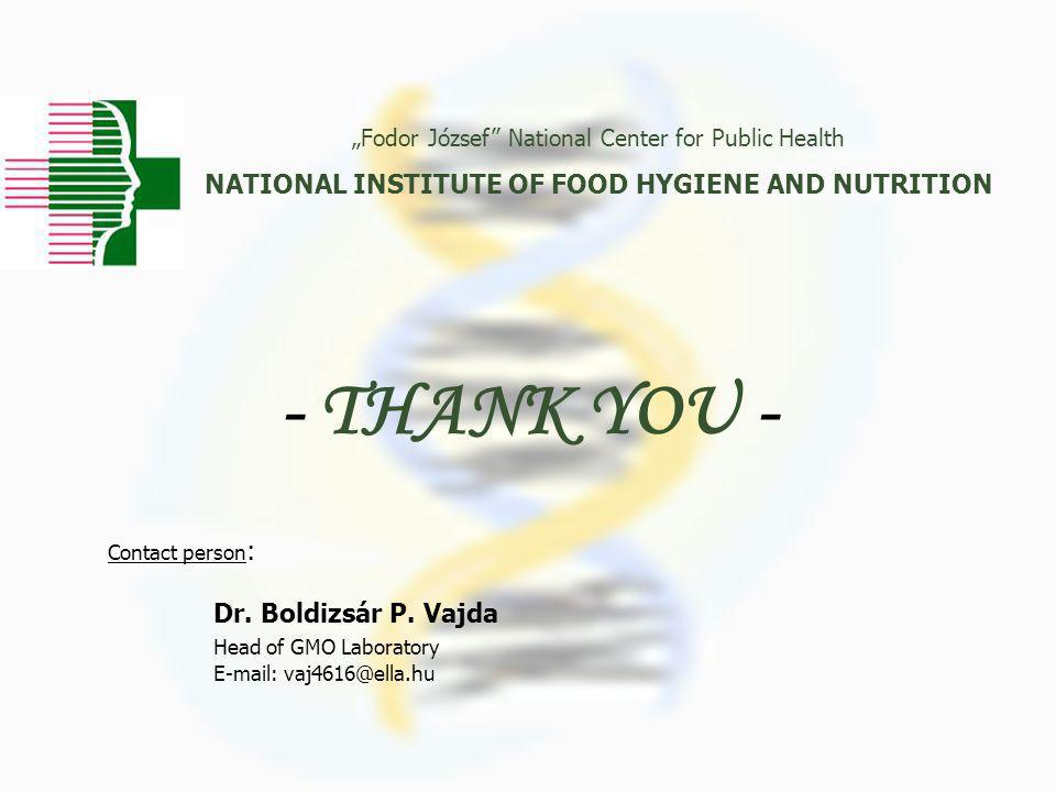 "- THANK YOU - ""Fodor József National Center for Public Health NATIONAL INSTITUTE OF FOOD HYGIENE AND NUTRITION Contact person : Dr."
