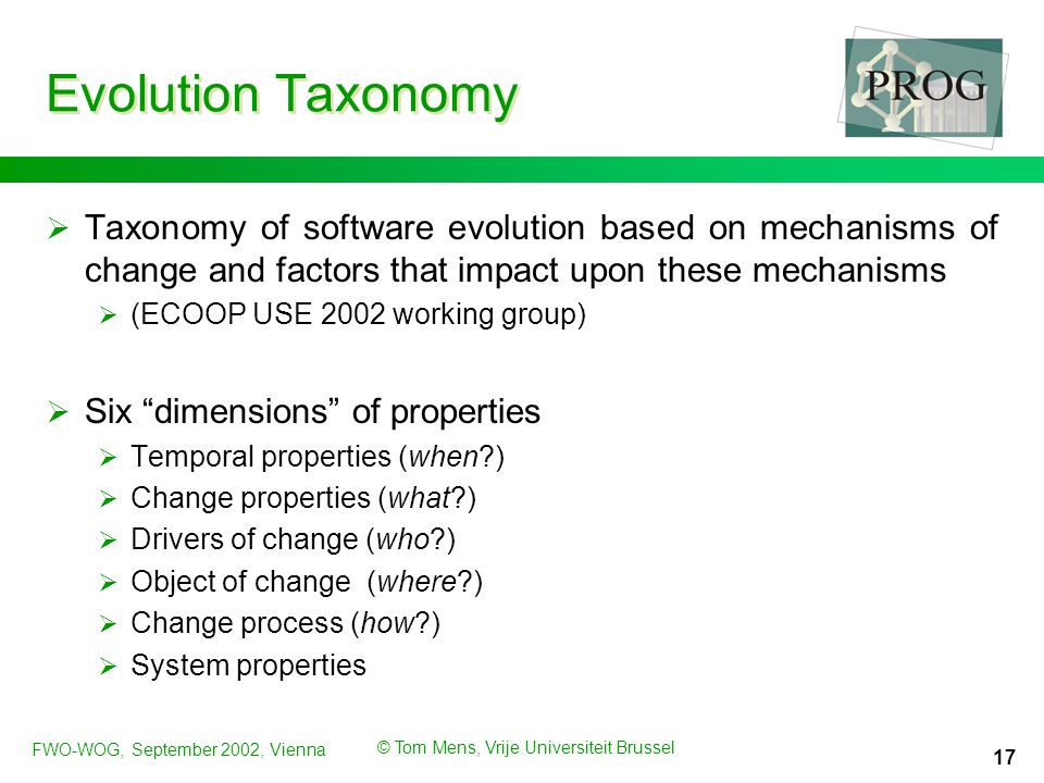FWO-WOG, September 2002, Vienna © Tom Mens, Vrije Universiteit Brussel 17 Evolution Taxonomy  Taxonomy of software evolution based on mechanisms of change and factors that impact upon these mechanisms  (ECOOP USE 2002 working group)  Six dimensions of properties  Temporal properties (when )  Change properties (what )  Drivers of change (who )  Object of change (where )  Change process (how )  System properties