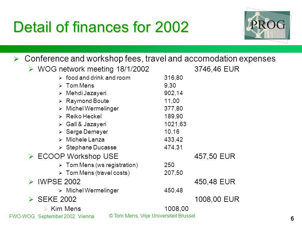 FWO-WOG, September 2002, Vienna © Tom Mens, Vrije Universiteit Brussel 7 Detail of finances for 2002  Research visits1274,33 EUR  Serge Demeyer (Dec.