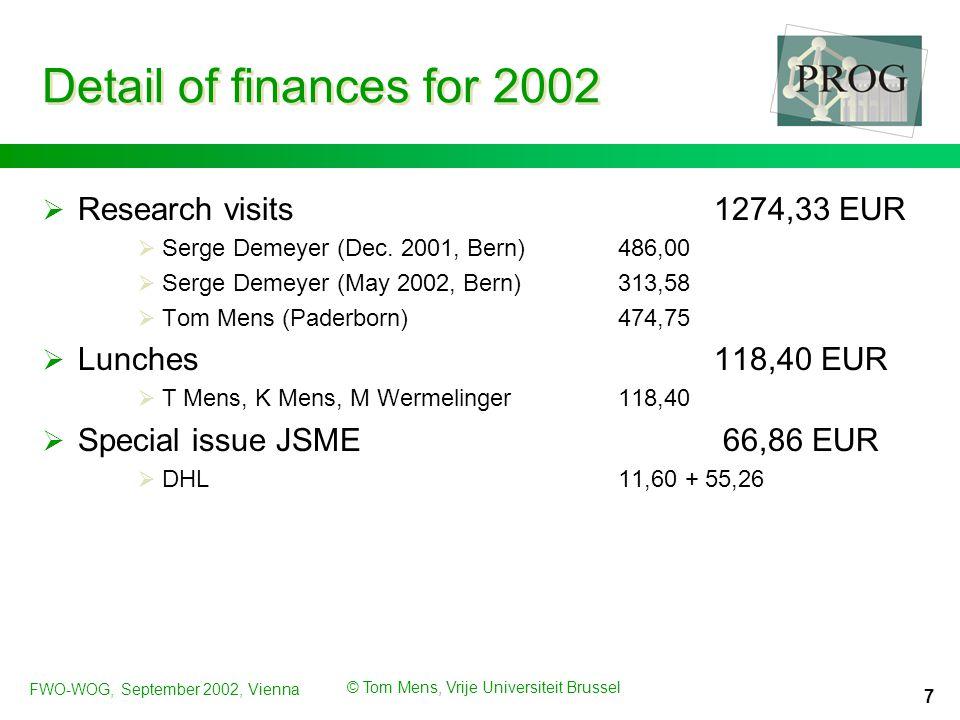 FWO-WOG, September 2002, Vienna © Tom Mens, Vrije Universiteit Brussel 8 Publications in 2002  Conferences and workshops  Conferences  T.