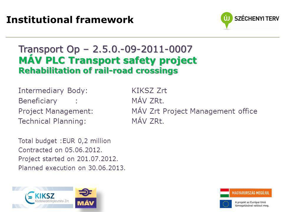 Institutional framework Transport Op – 2.5.0.-09-2011-0007 MÁV PLC Transport safety project Rehabilitation of rail-road crossings Intermediary Body: KIKSZ Zrt Beneficiary: MÁV ZRt.