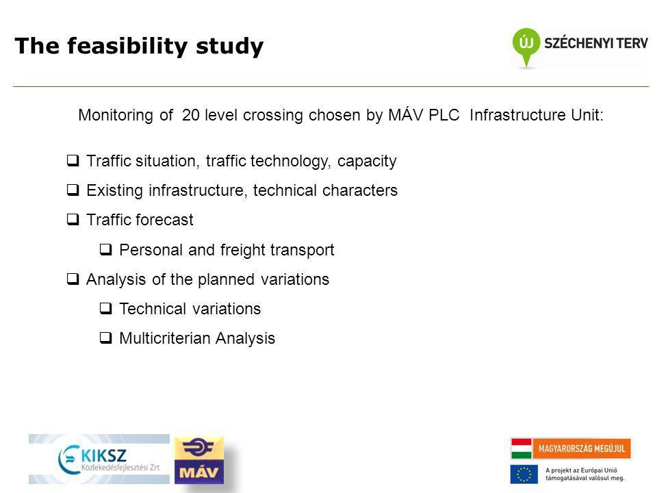 The feasibility study Monitoring of 20 level crossing chosen by MÁV PLC Infrastructure Unit:  Traffic situation, traffic technology, capacity  Existing infrastructure, technical characters  Traffic forecast  Personal and freight transport  Analysis of the planned variations  Technical variations  Multicriterian Analysis