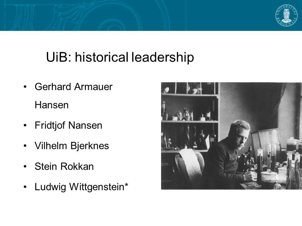 UiB: historical leadership Gerhard Armauer Hansen Fridtjof Nansen Vilhelm Bjerknes Stein Rokkan Ludwig Wittgenstein*