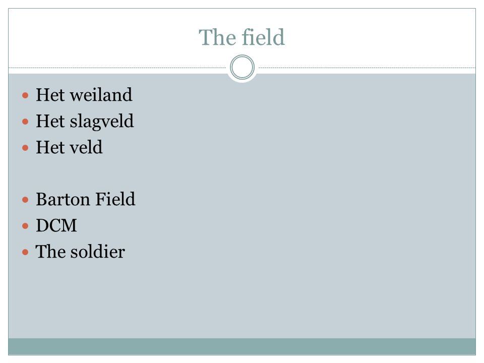 The field Het weiland Het slagveld Het veld Barton Field DCM The soldier