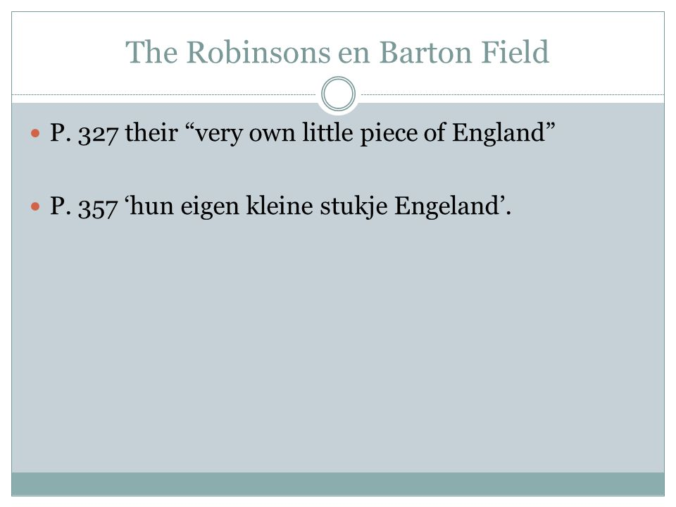 The Robinsons en Barton Field P. 327 their very own little piece of England P.