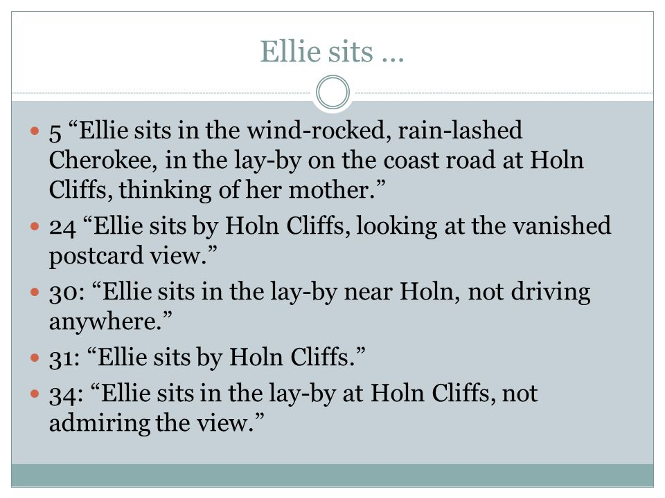 Ellie sits … 5 Ellie sits in the wind-rocked, rain-lashed Cherokee, in the lay-by on the coast road at Holn Cliffs, thinking of her mother. 24 Ellie sits by Holn Cliffs, looking at the vanished postcard view. 30: Ellie sits in the lay-by near Holn, not driving anywhere. 31: Ellie sits by Holn Cliffs. 34: Ellie sits in the lay-by at Holn Cliffs, not admiring the view.