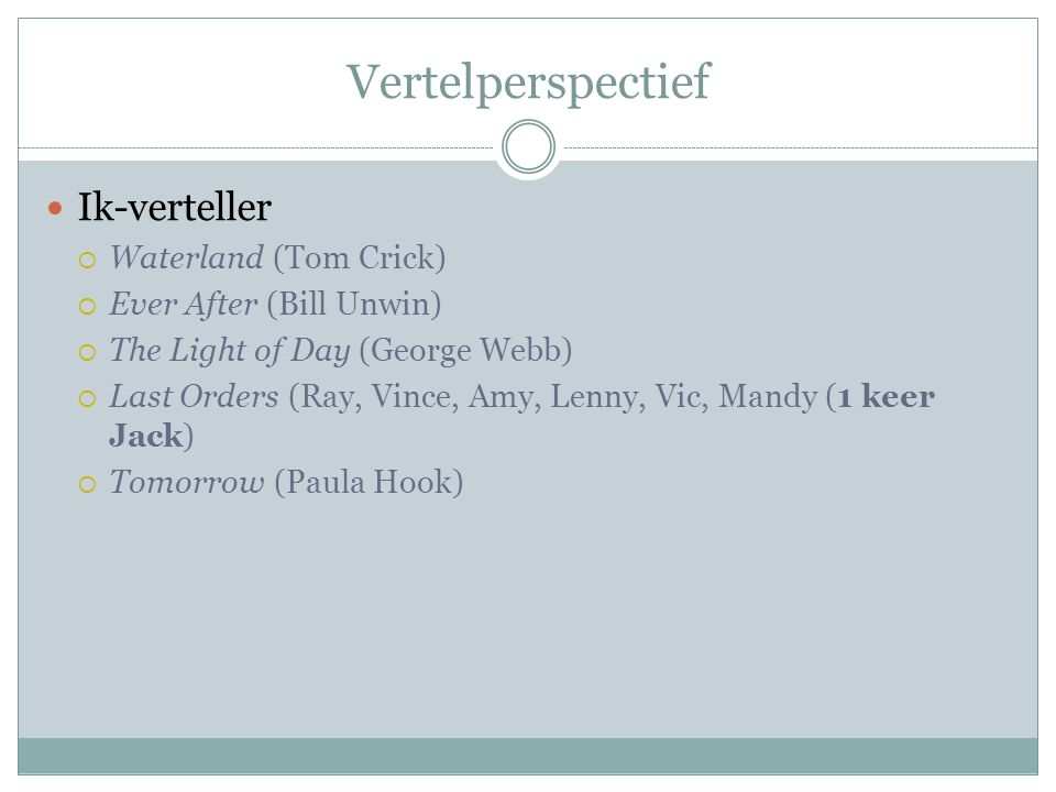 Vertelperspectief Ik-verteller  Waterland (Tom Crick)  Ever After (Bill Unwin)  The Light of Day (George Webb)  Last Orders (Ray, Vince, Amy, Lenny, Vic, Mandy (1 keer Jack)  Tomorrow (Paula Hook)