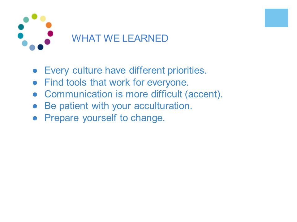 WHAT WE LEARNED ●Every culture have different priorities.