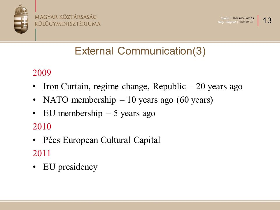 2009 Iron Curtain, regime change, Republic – 20 years ago NATO membership – 10 years ago (60 years) EU membership – 5 years ago 2010 Pécs European Cultural Capital 2011 EU presidency External Communication(3) Szerző | Korsós Tamás Hely Időpont | 2008.05.26.