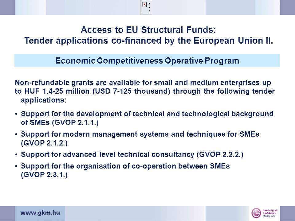 Non-refundable grants are available for small and medium enterprises up to HUF 1.4-25 million (USD 7-125 thousand) through the following tender applications: Support for the development of technical and technological background of SMEs (GVOP 2.1.1.) Support for modern management systems and techniques for SMEs (GVOP 2.1.2.) Support for advanced level technical consultancy (GVOP 2.2.2.) Support for the organisation of co-operation between SMEs (GVOP 2.3.1.) Access to EU Structural Funds: Tender applications co-financed by the European Union II.
