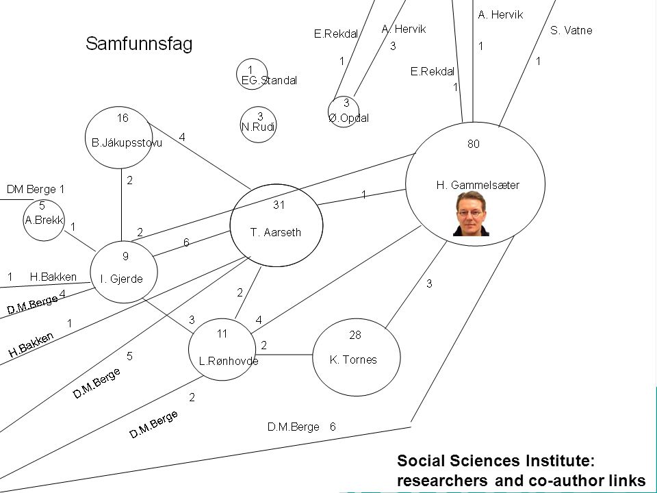 Social Sciences Institute: researchers and co-author links