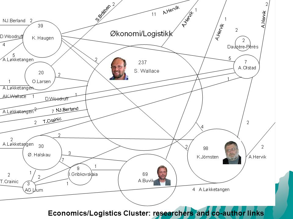 Economics/Logistics Cluster: researchers and co-author links