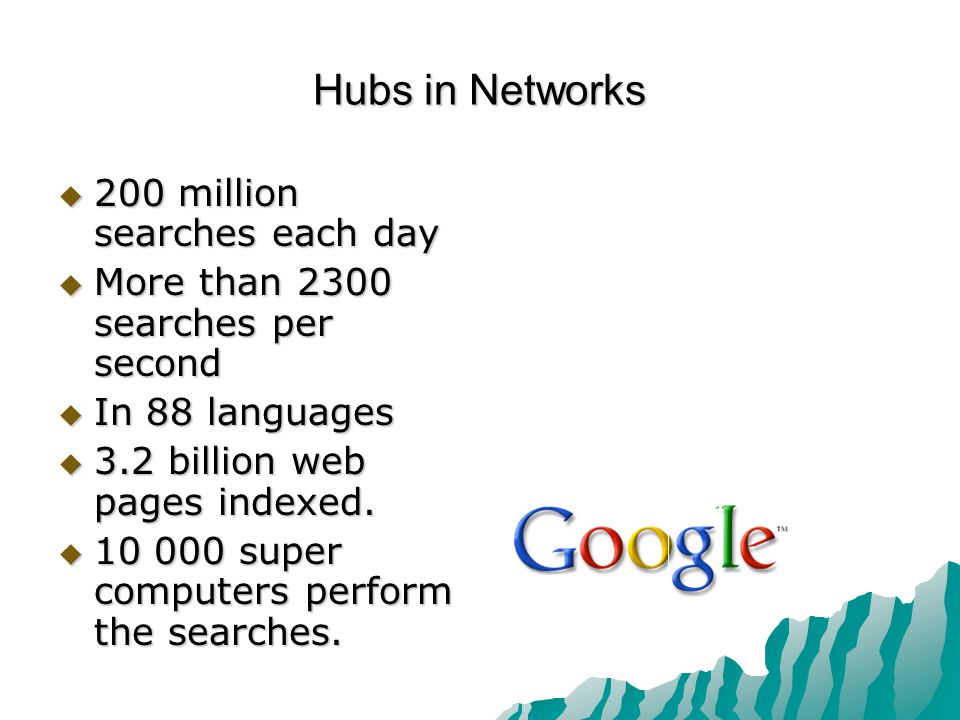 Hubs in Networks  200 million searches each day  More than 2300 searches per second  In 88 languages  3.2 billion web pages indexed.