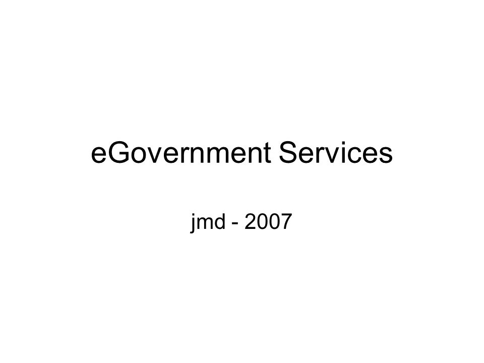 eGovernment Services jmd - 2007
