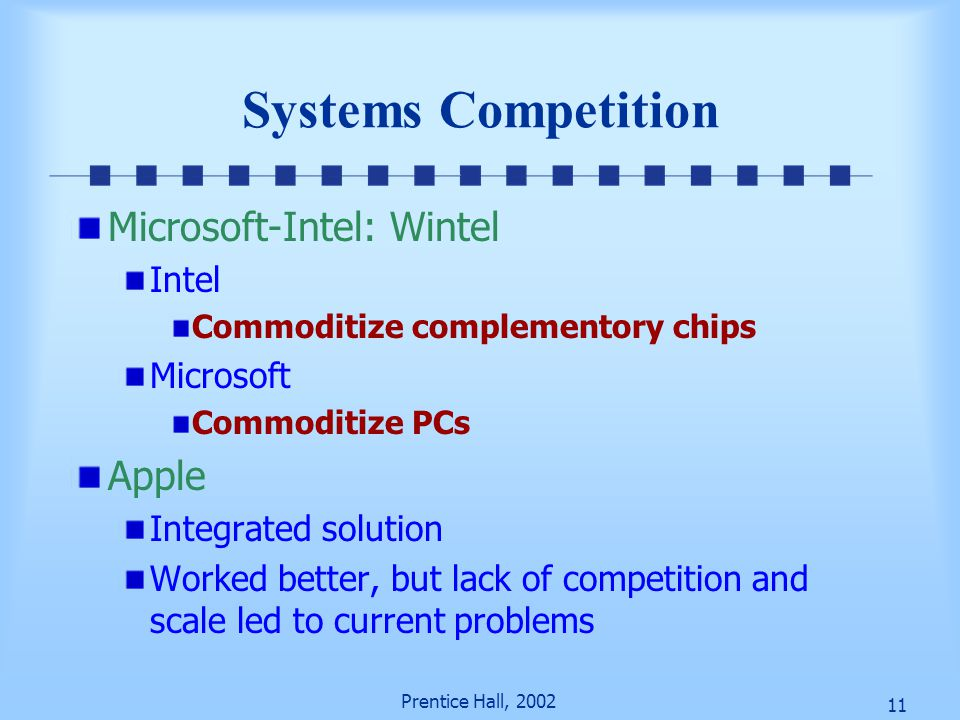 11 Prentice Hall, 2002 Systems Competition Microsoft-Intel: Wintel Intel Commoditize complementory chips Microsoft Commoditize PCs Apple Integrated solution Worked better, but lack of competition and scale led to current problems
