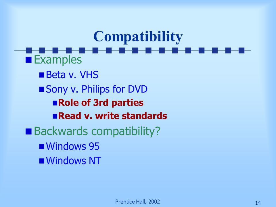 14 Prentice Hall, 2002 Compatibility Examples Beta v. VHS Sony v. Philips for DVD Role of 3rd parties Read v. write standards Backwards compatibility?