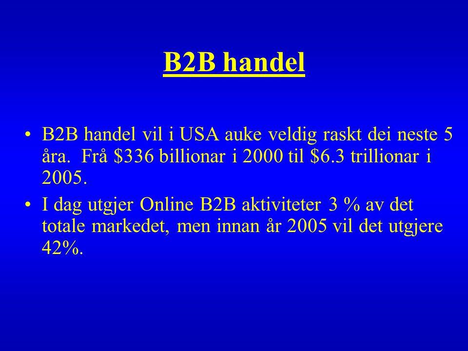 B2B handel B2B handel vil i USA auke veldig raskt dei neste 5 åra.
