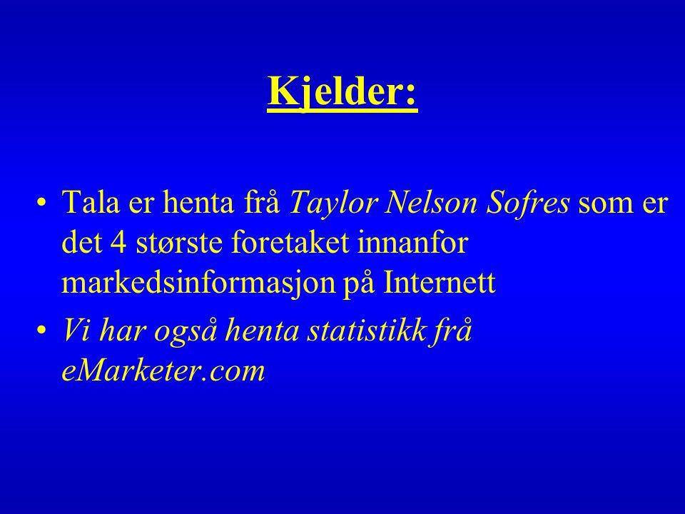 Kjelder: Tala er henta frå Taylor Nelson Sofres som er det 4 største foretaket innanfor markedsinformasjon på Internett Vi har også henta statistikk frå eMarketer.com