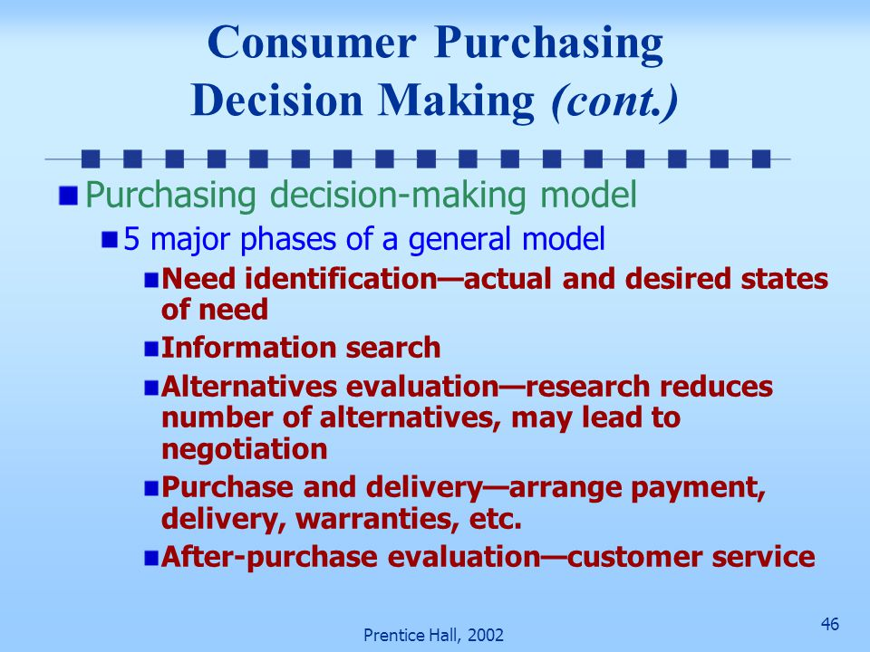 46 Prentice Hall, 2002 Consumer Purchasing Decision Making (cont.) Purchasing decision-making model 5 major phases of a general model Need identificat