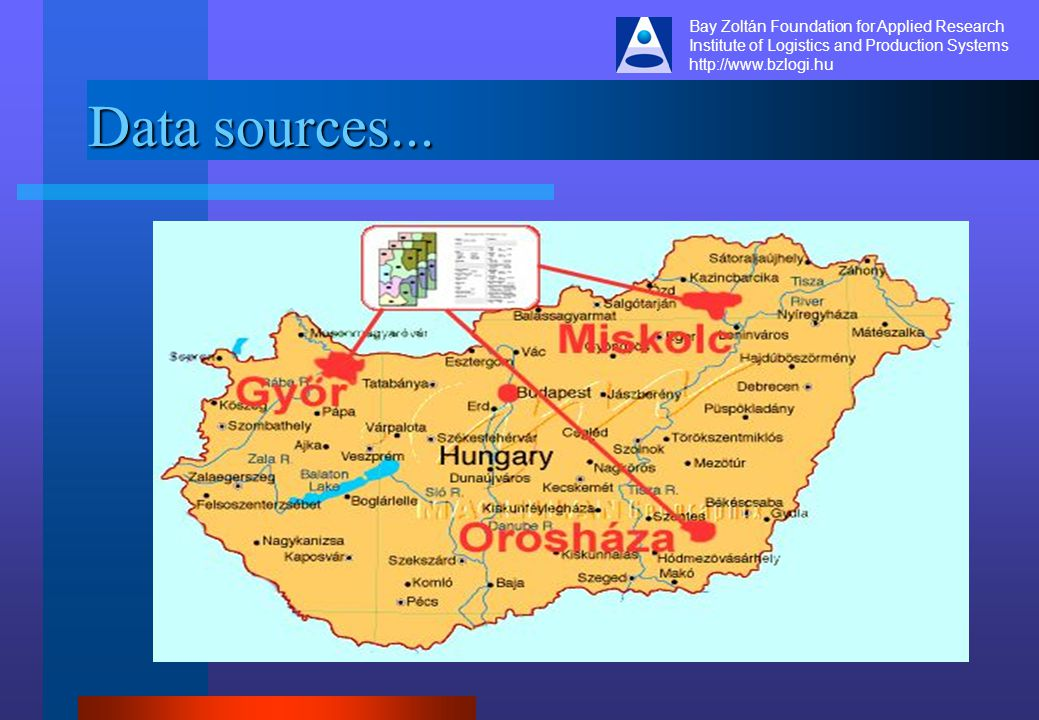 Bay Zoltán Foundation for Applied Research Institute of Logistics and Production Systems http://www.bzlogi.hu Data sources...