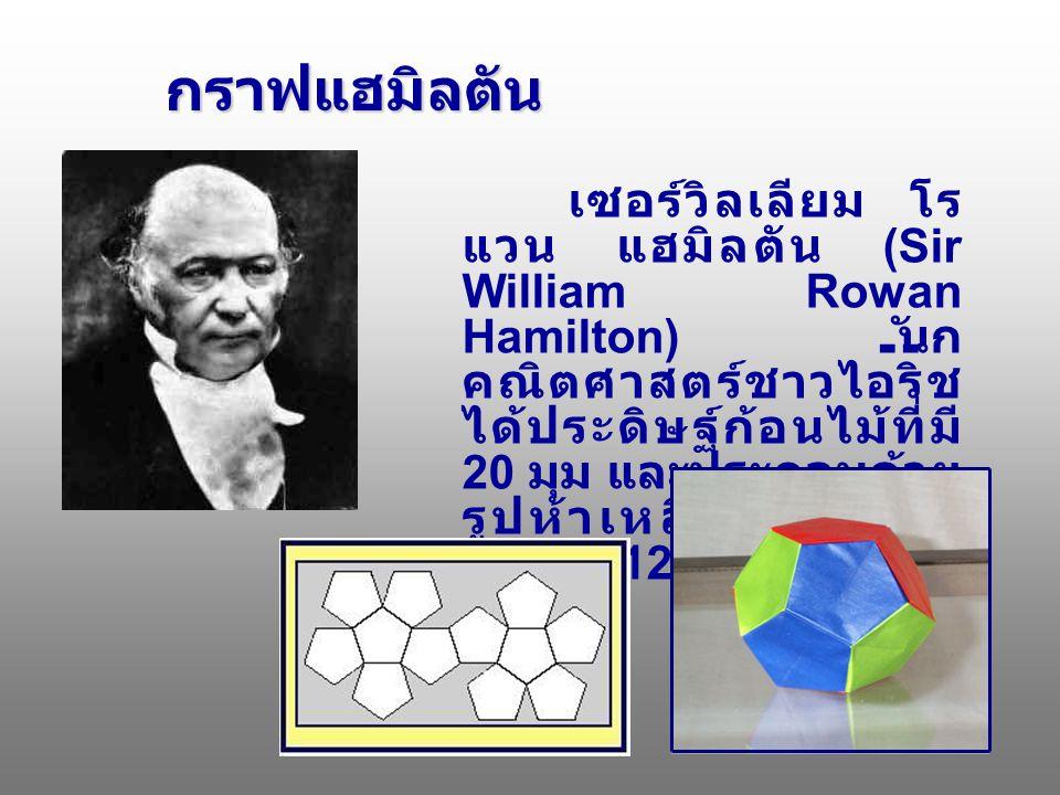 กราฟแฮมิลตัน กราฟแฮมิลตัน เซอร์วิลเลียม โร แวน แฮมิลตัน (Sir William Rowan Hamilton) นัก คณิตศาสตร์ชาวไอริช ได้ประดิษฐ์ก้อนไม้ที่มี 20 มุม และประกอบด้