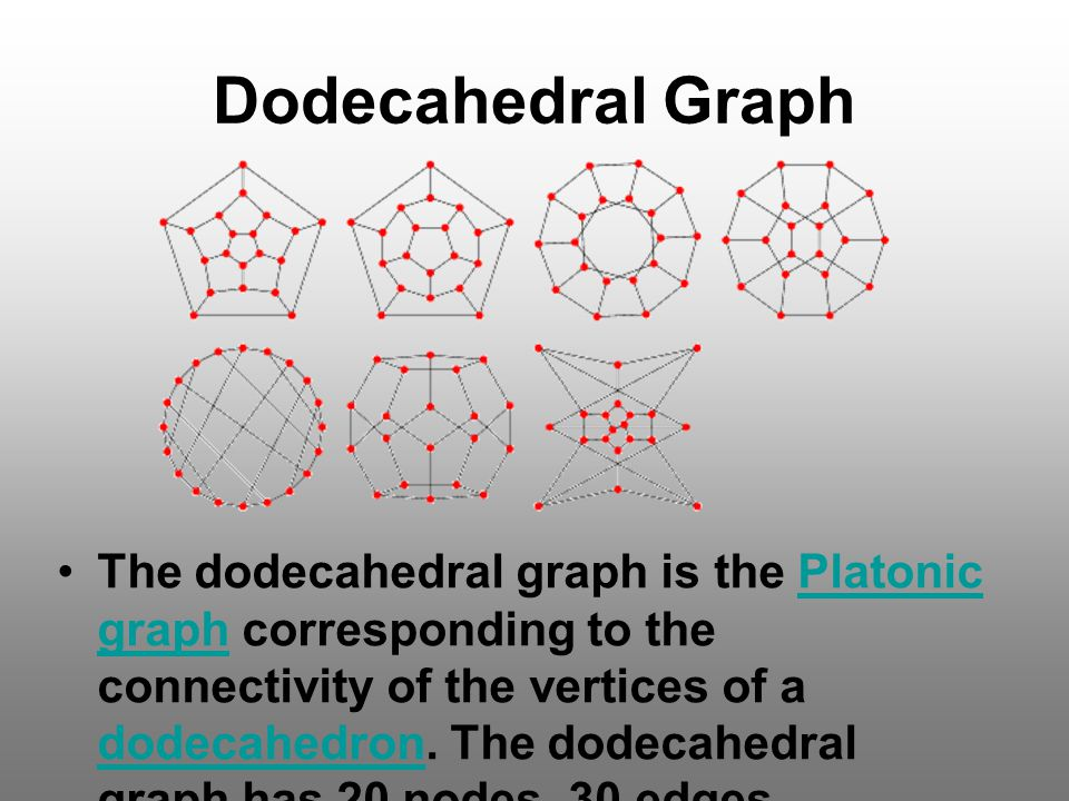 Dodecahedral Graph The dodecahedral graph is the Platonic graph corresponding to the connectivity of the vertices of a dodecahedron. The dodecahedral