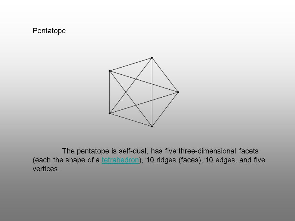 Pentatope The pentatope is self-dual, has five three-dimensional facets (each the shape of a tetrahedron), 10 ridges (faces), 10 edges, and five verti
