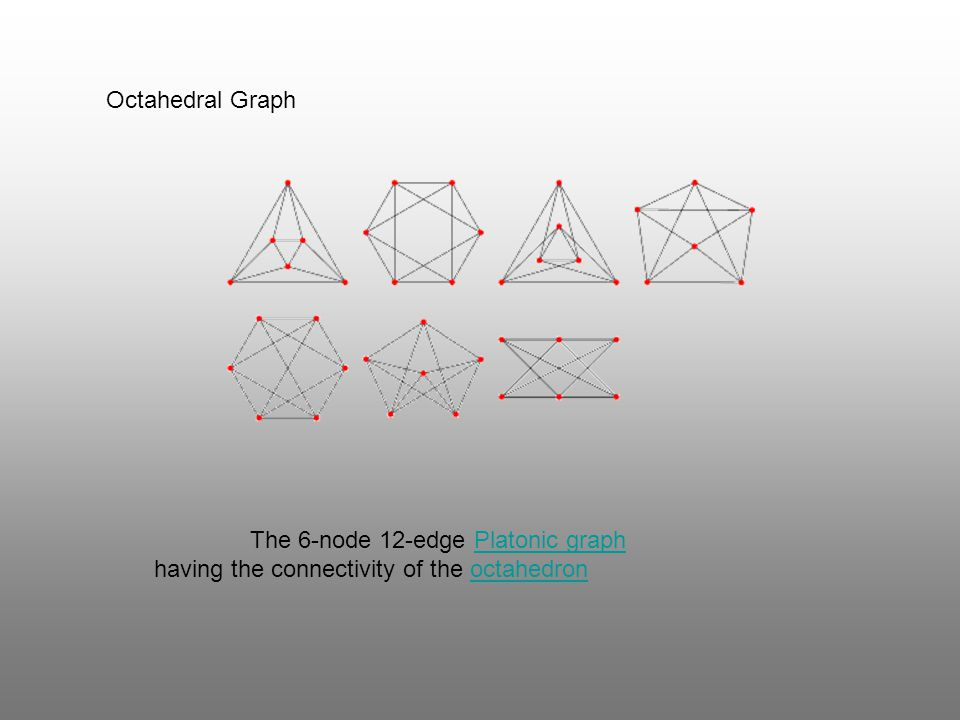 Octahedral Graph The 6-node 12-edge Platonic graph having the connectivity of the octahedronPlatonic graphoctahedron