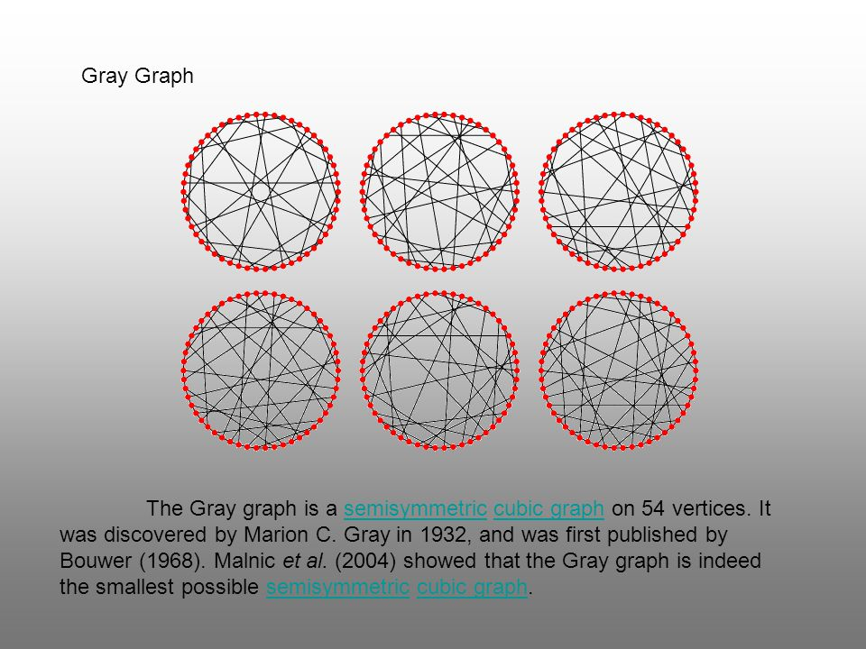 Gray Graph The Gray graph is a semisymmetric cubic graph on 54 vertices. It was discovered by Marion C. Gray in 1932, and was first published by Bouwe