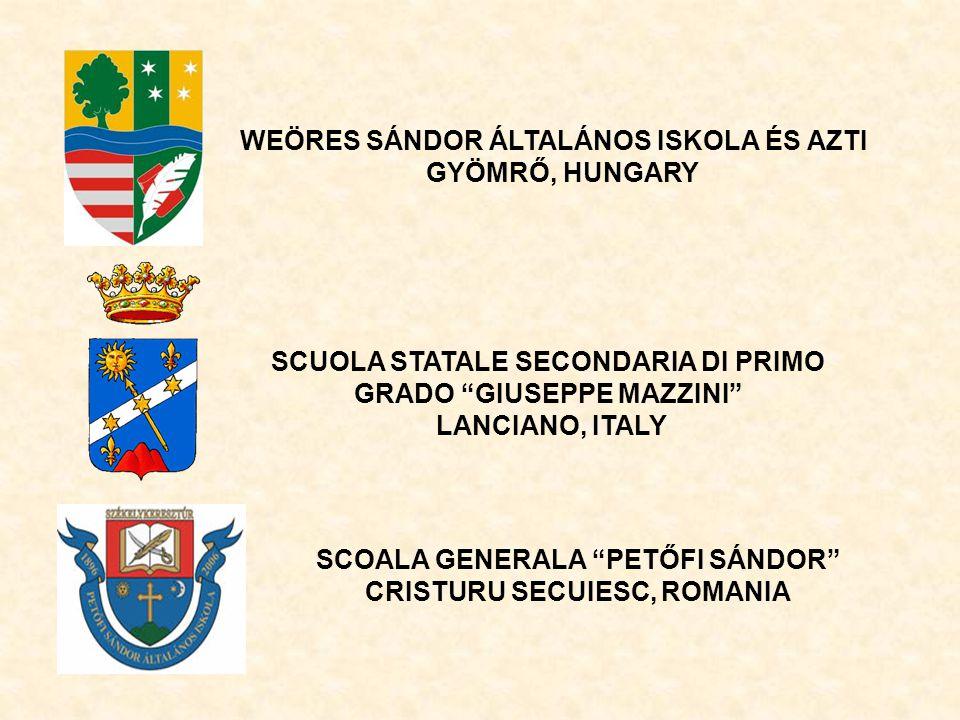 WEÖRES SÁNDOR ÁLTALÁNOS ISKOLA ÉS AZTI GYÖMRŐ, HUNGARY SCUOLA STATALE SECONDARIA DI PRIMO GRADO GIUSEPPE MAZZINI LANCIANO, ITALY SCOALA GENERALA PETŐFI SÁNDOR CRISTURU SECUIESC, ROMANIA