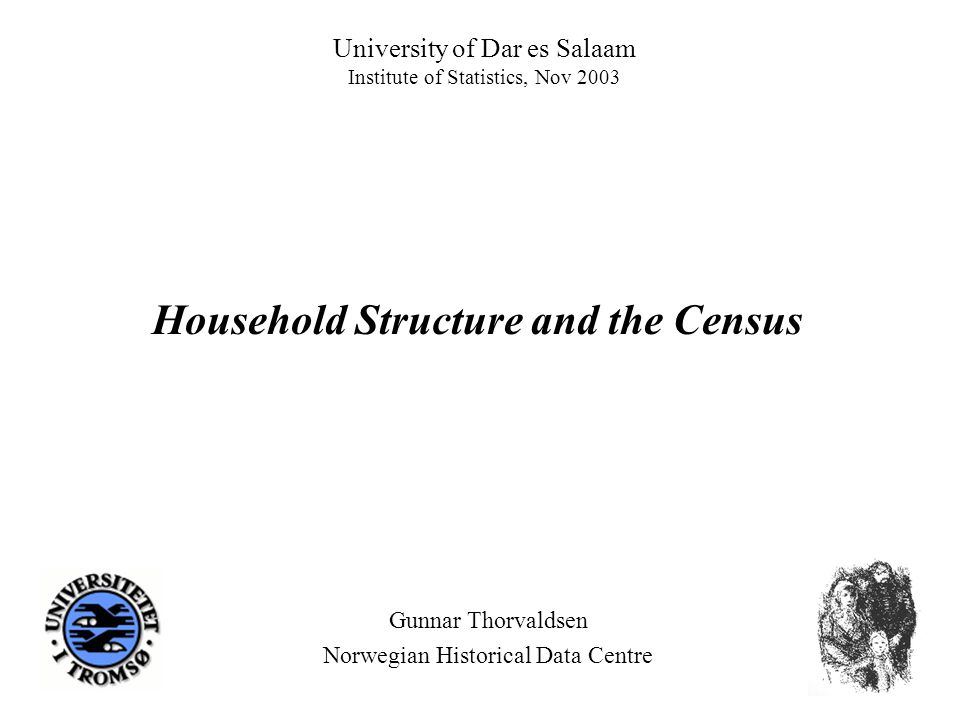 University of Dar es Salaam Institute of Statistics, Nov 2003 Gunnar Thorvaldsen Norwegian Historical Data Centre Household Structure and the Census