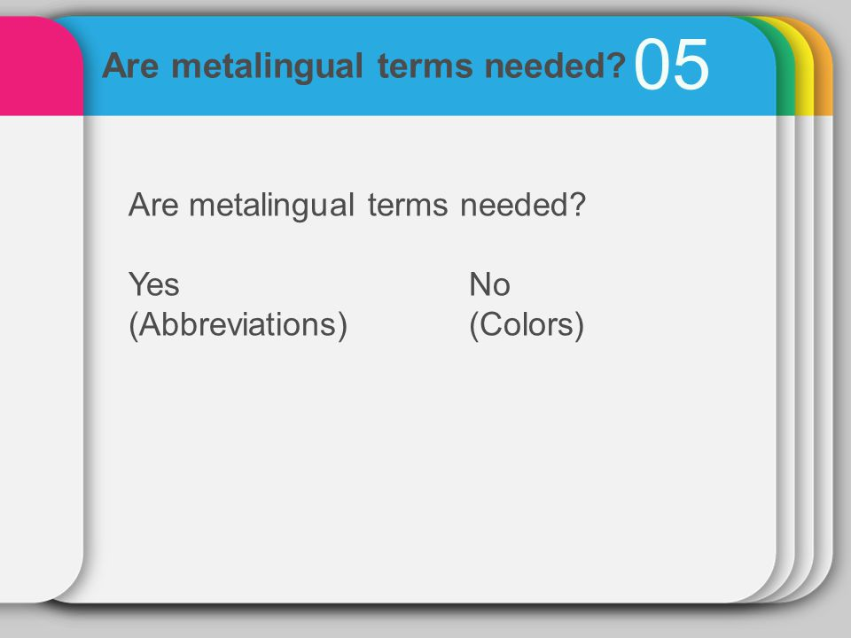05 Are metalingual terms needed YesNo (Abbreviations)(Colors) Are metalingual terms needed