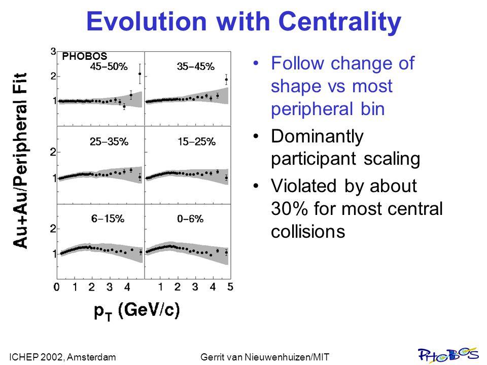 ICHEP 2002, AmsterdamGerrit van Nieuwenhuizen/MIT Evolution with Centrality Follow change of shape vs most peripheral bin Dominantly participant scali