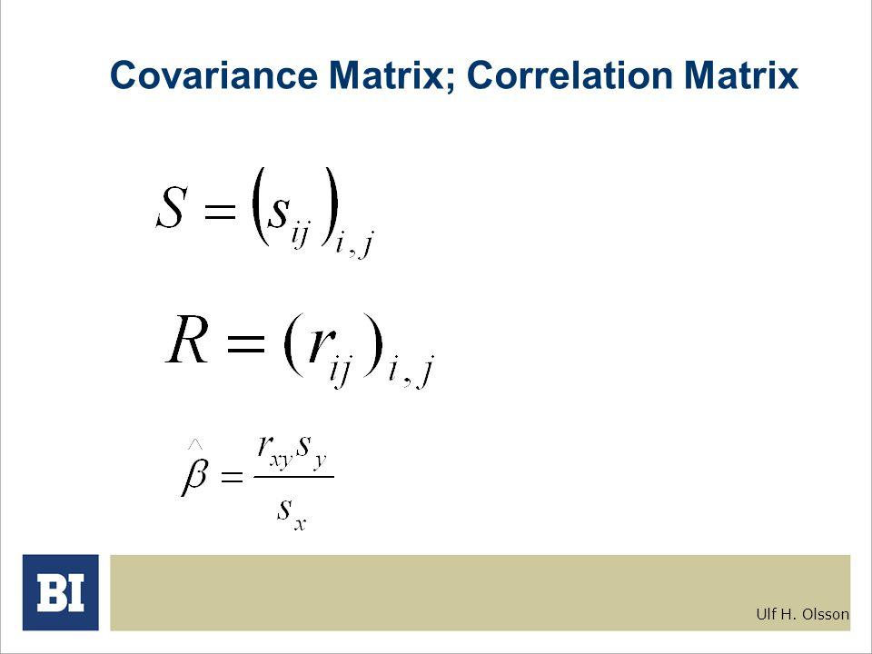Ulf H. Olsson Covariance Matrix; Correlation Matrix