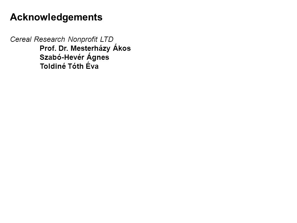 Acknowledgements Cereal Research Nonprofit LTD Prof.