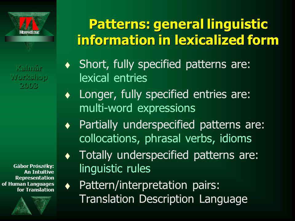 Translation of human languages t old problems (50's) t direct (60's) t interlingual (70's) t transfer (80's) t examples (90's) Kalmár Workshop 2003 Gábor Prószéky: An Intuitive Representation of Human Languages for Translation