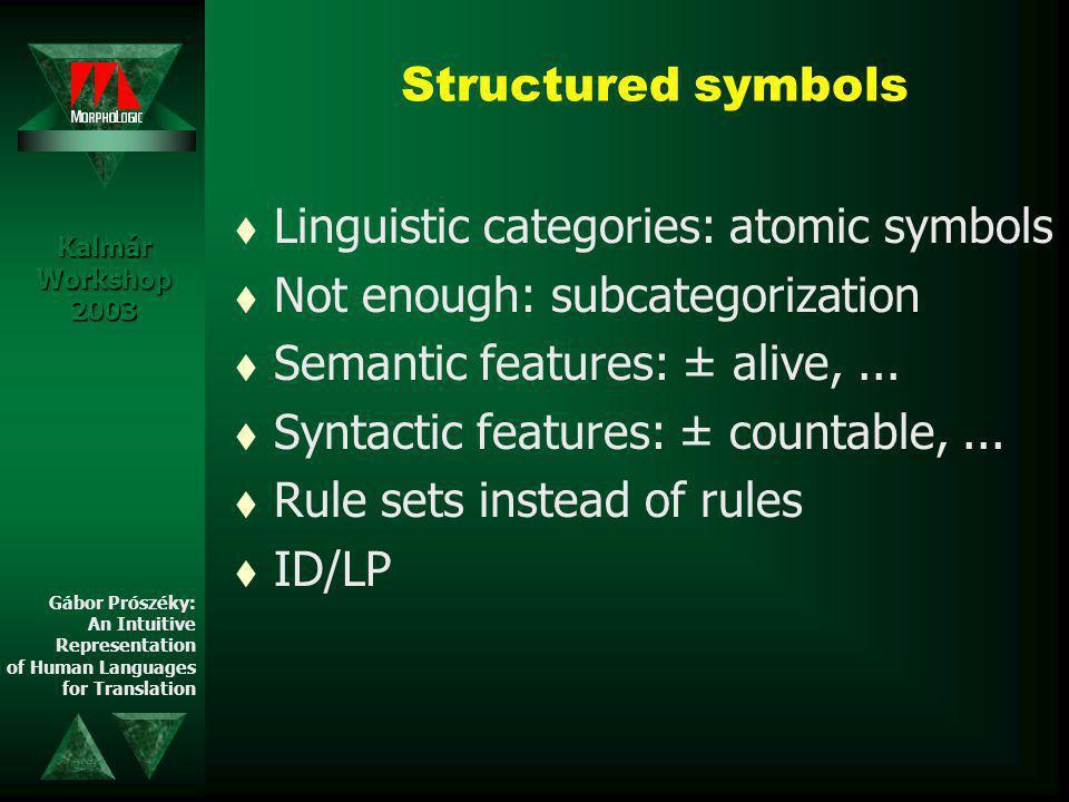 Structured symbols t Linguistic categories: atomic symbols t Not enough: subcategorization t Semantic features: ± alive,...