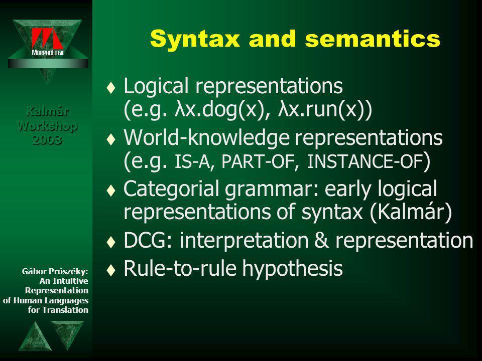Syntax and semantics t Logical representations (e.g.