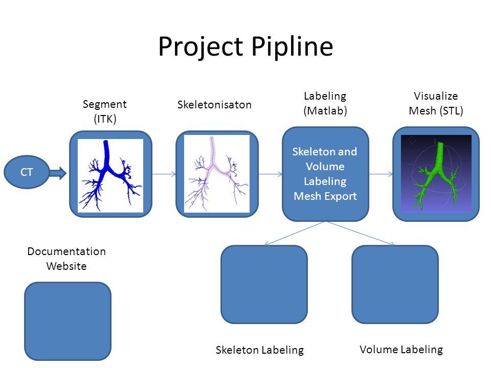 Project Pipline Skeleton and Volume Labeling Mesh Export CT Documentation Website Skeletonisaton Labeling (Matlab) Visualize Mesh (STL) Segment (ITK) Skeleton Labeling Volume Labeling