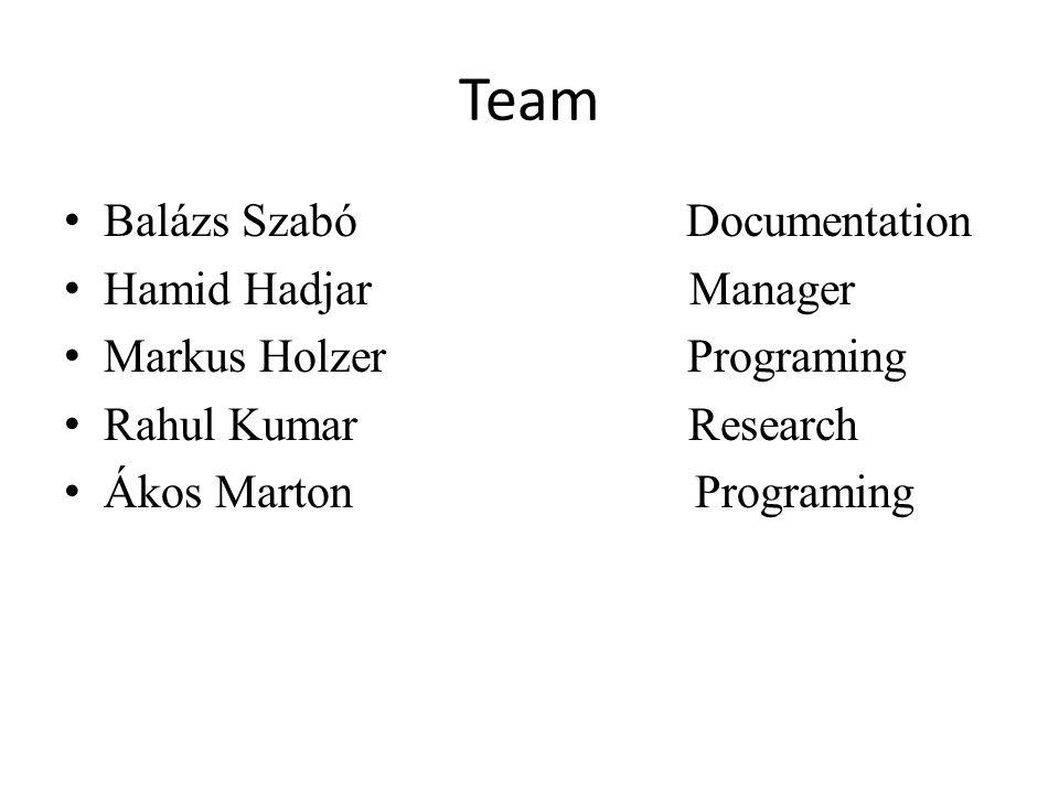 Team Balázs Szabó Documentation Hamid Hadjar Manager Markus Holzer Programing Rahul Kumar Research Ákos Marton Programing