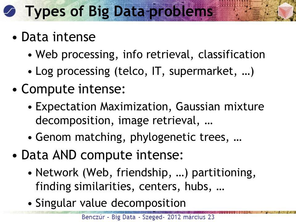 Benczúr – Big Data - Szeged- 2012 március 23 Types of Big Data problems Data intense Web processing, info retrieval, classification Log processing (te